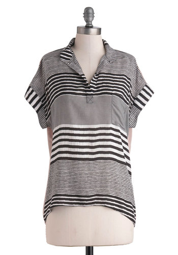 Queue Got What I Need Top - Jersey, Sheer, Mid-length, Black, Tan / Cream, White, Stripes, Pockets, Casual, Short Sleeves, Collared, Menswear Inspired, Travel, Grey, Short Sleeve, Beach/Resort