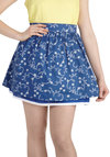 Ahoy, Oh Boy! Skirt - Blue, White, Cotton, Short, Novelty Print, Nautical, A-line, Mini, Casual, Summer