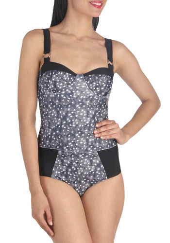 Night Swim One Piece by Tallow - White, Summer, Novelty Print, Cutout, Beach/Resort, Spaghetti Straps, Grey, Black, Print, Sweetheart, International Designer