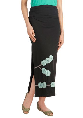 Evening In The Orchard Skirt - Black, Blue, Floral, A-line, Long, Jersey, Cotton