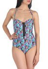 Island Parrot-dise One Piece - Multi, International Designer, Print with Animals, Buttons, Beach/Resort, Safari, Summer