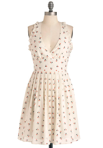 Dot-ful Gesture Dress - Mid-length, Cream, Multi, Polka Dots, Pleats, Ruffles, A-line, Halter, Party