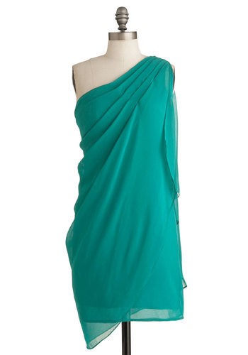 Teal It In Dress - Mid-length, Party, Green, Solid, Shift, Wrap, One Shoulder, Cocktail, Sheer, Prom