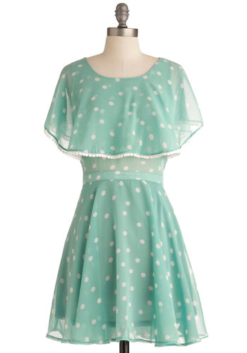 Ethereal Elegance Dress - Mid-length, Green, Polka Dots, Trim, Party, A-line, Short Sleeves, Spring, White, Sheer, Mint, Fit & Flare, Summer