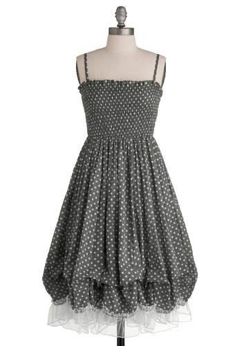 Delightful Day Trip Dress - Grey, White, Polka Dots, Lace, Ruffles, Casual, Spaghetti Straps, Long, Sheer, Cotton, Summer, Exclusives