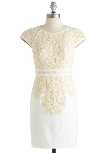 Fondant and Lace Dress - Short, White, Tan / Cream, Cutout, Lace, Party, Shift, Cap Sleeves, Wedding, Bride, Exclusives