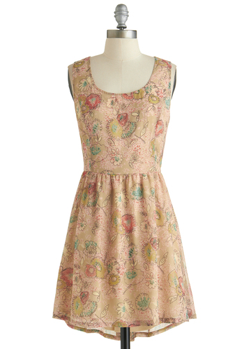 Skip to My Doodle Dress - Short, Tan, Multi, Floral, Cutout, Casual, A-line, Tank top (2 thick straps), Scoop, Spring, Summer