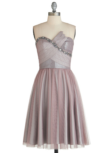 Walking on Aria Dress - Short, Grey, Solid, Beads, Sequins, Prom, Wedding, Cocktail, Bridesmaid, A-line, Strapless, Sweetheart, Exclusives