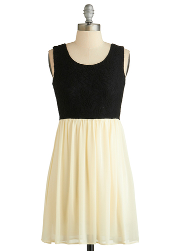 Sweet Sunsets Dress - Mid-length, Black, White, Lace, Party, A-line, Tank top (2 thick straps), Scoop, Summer, Exclusives
