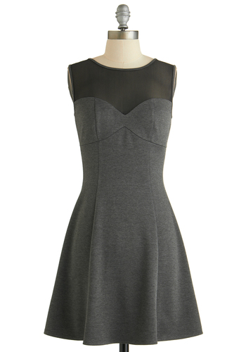 Trendsetting Ticketholder Dress - Short, Grey, Black, Casual, A-line, Sleeveless, Crew, Exclusives, Gifts Sale