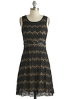 Dashing at Dinner Dress - Mid-length, Black, Tan / Cream, Solid, Lace, Belted, Party, Sheath / Shift, Tank top (2 thick straps), Scoop, Summer