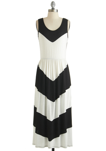 Right on Keyboard Dress - Long, Maxi, Black, White, Stripes, Casual, Tank top (2 thick straps), Scoop, Beach/Resort, Summer