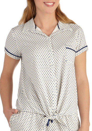 Snowflake Tahoe Sleep Top by Kensie - Blue, Trim, Cream, Print, Pockets, Short Sleeves, Buttons, Collared, Travel