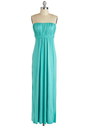 Go for a Spindrift Dress - Jersey, Long, Mint, Solid, Braided, Ruching, Casual, Maxi, Strapless, Sweetheart, Cutout, Beach/Resort, Summer, Cover-up, Maternity