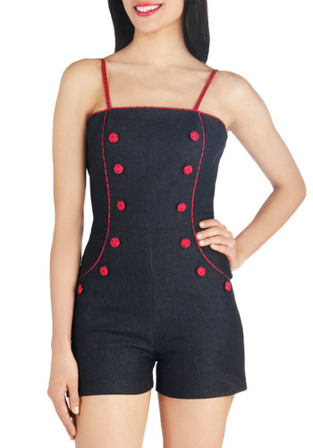 Ladybugs First Romper - Denim, Long, Blue, Red, Solid, Buttons, Pockets, Pinup, Vintage Inspired, Spaghetti Straps, Summer