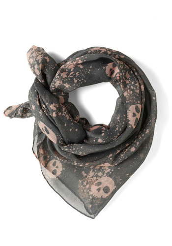 Go Skull Throttle Scarf - Grey, Tan / Cream, Print, Sheer, Urban