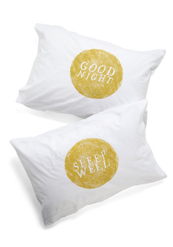 Goodnight, Room Pillowcase Set by Kin Ship - White, Yellow, Novelty Print, Cotton, Exclusives, Good, Cosmic, Top Rated