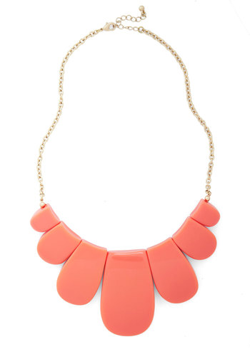 Petal Winner Necklace - Gold, Solid, Statement, Coral, Summer