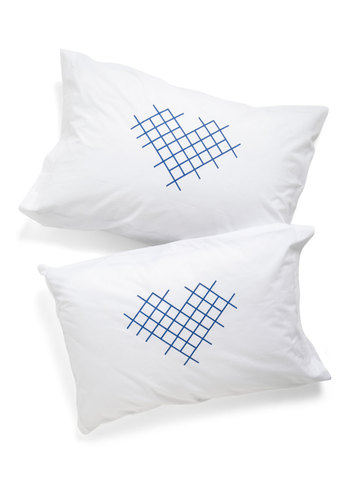 Cross-stitch My Heart Pillowcase Set by Kin Ship - White, Blue, Dorm Decor, Exclusives, Good, Wedding