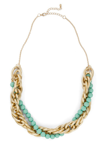 Classic Comple-mint Necklace - Mint, Gold, Solid, Beads, Chain, Statement, Pastel, Work, Gold
