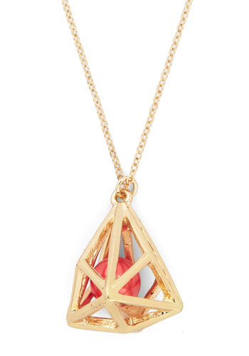 Ball in Good Time Necklace - Gold, Coral, Solid, Beads, Cutout