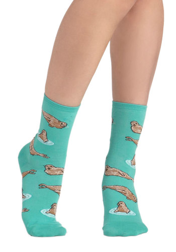 Wearable Whimsy Socks in Seals - Blue, Multi, Print with Animals, Novelty Print, Kawaii, Quirky, Variation