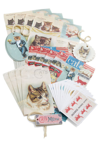 A Gift Fur You Parcel Wrapping Set by Cavallini & Co. - Multi, Print with Animals, French / Victorian, Cats, Good, Top Rated