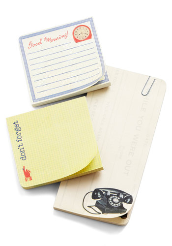 Stand the Desk of Time Sticky Note Set by Cavallini & Co. - Yellow, Tan / Cream, White, Work, Mid-Century