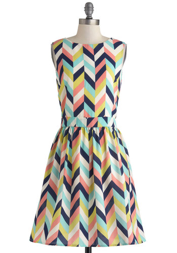 Arrow Your Boat Dress by Louche - Multi, Green, Blue, Pink, Chevron, Buttons, Pockets, A-line, Sleeveless, Boat, Party, Spring, Mid-length, Knit