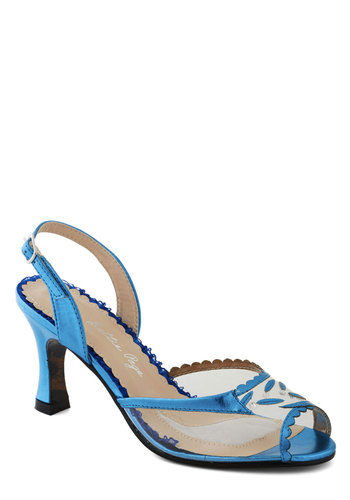 Out of the Metallic Blue Heel by Bettie Page - Blue, Scallops, Wedding, Bridesmaid, Bride, Mid, Peep Toe, Slingback, Daytime Party, Vintage Inspired, Spring