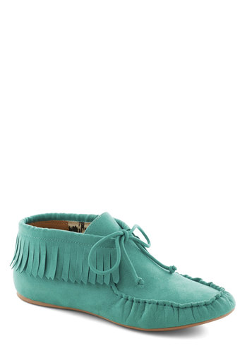 Art Fair Maiden in Aquamarine - Green, Solid, Fringed, Flat, Lace Up, Faux Leather, Boho, Travel, Mint, Basic