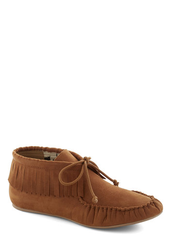Art Fair Maiden Bootie in Clay - Tan, Solid, Fringed, Flat, Lace Up, Faux Leather, Boho, Travel, Basic, Fall