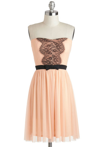 Guest for Last Dress - Short, Pink, Black, Bows, Lace, Party, A-line, Strapless, Sweetheart, Solid, Wedding, Bridesmaid, Pastel, Spring, Summer