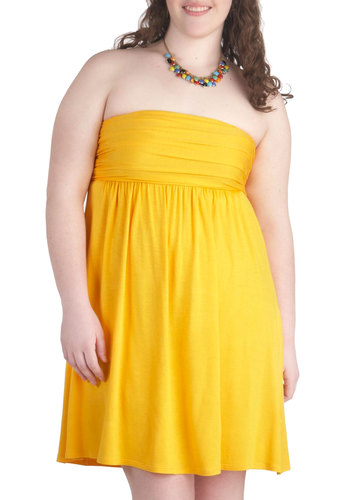 Fun in the Sunshine Dress - Plus Size - Jersey, Yellow, Solid, Ruching, Casual, Empire, Strapless, Beach/Resort, Minimal, Travel, Summer, Exclusives