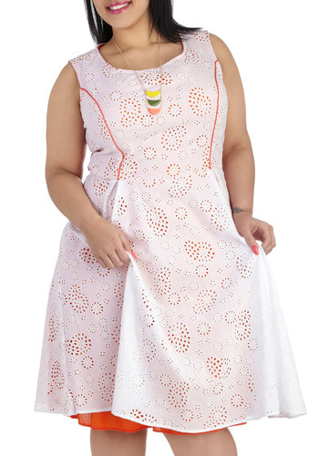An Eyelet for Fashion Dress in Plus Size - Cotton, White, Orange, Eyelet, Casual, Sleeveless, Scoop, Solid, Daytime Party, Graduation, A-line, Exclusives