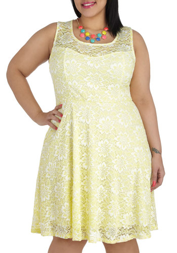 Lemon Drop By Dress in Plus Size - Yellow, Solid, Lace, Daytime Party, A-line, Tank top (2 thick straps), Scoop, White, Spring, Summer, Sheer, Variation