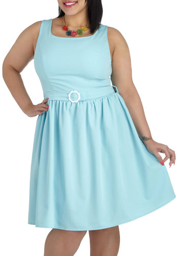 Out of the Sky Blue Dress in Plus Size - Blue, Solid, Belted, Casual, A-line, Tank top (2 thick straps), Daytime Party, Vintage Inspired, Pastel, Spring, Summer, Scoop