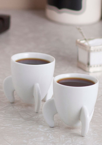 Docket Fuel Espresso Cup Set by Fred - White, Quirky, Minimal, Good