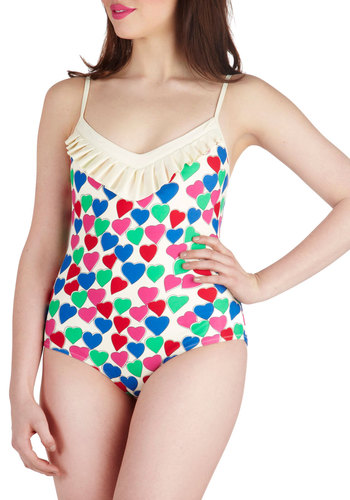 Lauren Moffatt I Heart Swimming One Piece by Lauren Moffatt - Print, Ruffles, Summer, Beach/Resort, Spaghetti Straps, Vintage Inspired, 50s, Pink, White, Blue, Green, Red, Multi