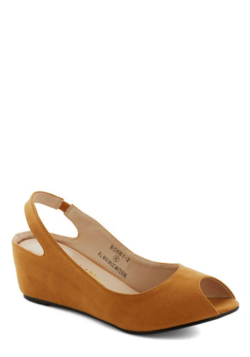 Keep Up the Good Work Wedge in Butterscotch - Mid, Faux Leather, Yellow, Solid, Peep Toe, Slingback, Wedge, Work, Daytime Party, Minimal, Variation