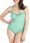 Swim Stroke of Genius One Piece - Green, Pink, White, Stripes, Bows, Summer, International Designer, Cutout, Trim, Beach/Resort, Strapless, Halter, Vintage Inspired, 50s, Luxe