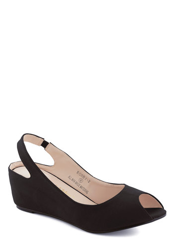 Keep Up the Good Work Wedge in Black - Black, Solid, Mid, Wedge, Peep Toe, Slingback, Work, Daytime Party, Minimal, Variation