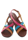 Fruit Stand Cutie Sandal - Flat, Faux Leather, Yellow, Blue, Beach/Resort, Summer, Multi, Pink, Solid, Casual, Colorblocking, Strappy