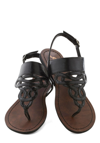 Drizzle Castle Sandal in Black - Flat, Black, Summer, Faux Leather, Solid, Casual, Beach/Resort, Variation