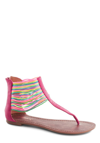 Neon the Shore Sandal in Fuchsia - Flat, Pink, Multi, Beach/Resort, Neon, Summer, Faux Leather, Casual, Urban, Variation