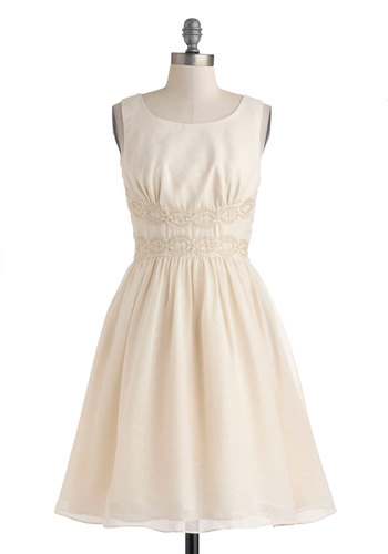 Speckled Someone Dress - Mid-length, Cream, Solid, Crochet, Wedding, Cocktail, Bride, A-line, Tank top (2 thick straps), Scoop