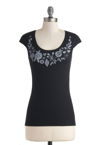 Finer Things in Life Top by FluffyCo - Mid-length, Cotton, Black, Grey, Casual, Scoop, Eco-Friendly, Exclusives, Short Sleeves