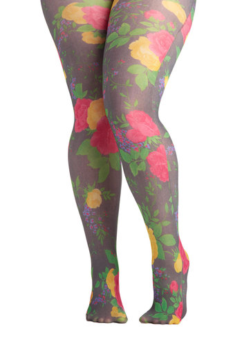 Roses in Bloom Tights in Plus Size by Look From London - Sheer, Floral, Multi, Top Rated