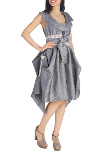 Plan of Auction Dress - White, Bows, Empire, Sleeveless, Scoop, Grey, Solid, Handkerchief, Belted, Daytime Party, Statement, Steampunk