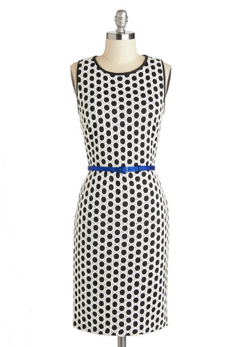 Domino Dynamite Dress - Mid-length, Black, White, Polka Dots, Crochet, Belted, Party, Sheath / Shift, Sleeveless, Crew, Vintage Inspired, 60s, Mod, Work, Daytime Party